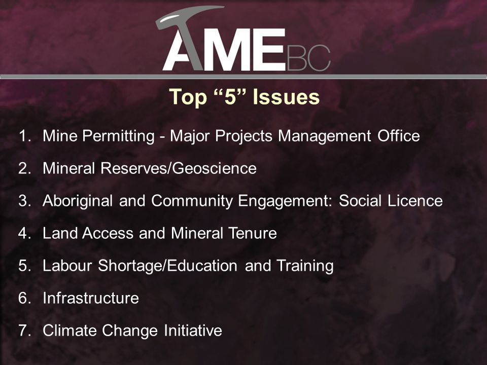Top 5 Issues 1.Mine Permitting - Major Projects Management Office 2.Mineral Reserves/Geoscience 3.Aboriginal and Community Engagement: Social Licence 4.Land Access and Mineral Tenure 5.Labour Shortage/Education and Training 6.Infrastructure 7.Climate Change Initiative