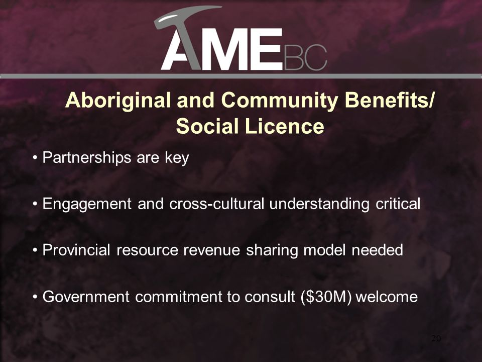 20 Aboriginal and Community Benefits/ Social Licence Partnerships are key Engagement and cross-cultural understanding critical Provincial resource revenue sharing model needed Government commitment to consult ($30M) welcome