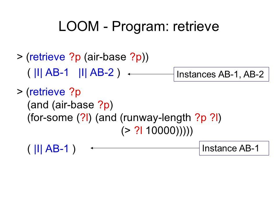 LOOM - Program: retrieve > (retrieve ?p (air-base ?p)) ( |I| AB-1 |I| AB-2 ) > (retrieve ?p (and (air-base ?p) (for-some (?l) (and (runway-length ?p ?l) (> ?l 10000))))) ( |I| AB-1 ) Instances AB-1, AB-2 Instance AB-1