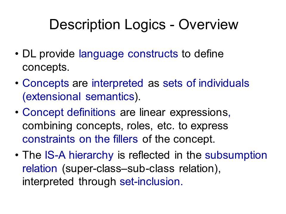 Description Logics - Overview DL provide language constructs to define concepts.