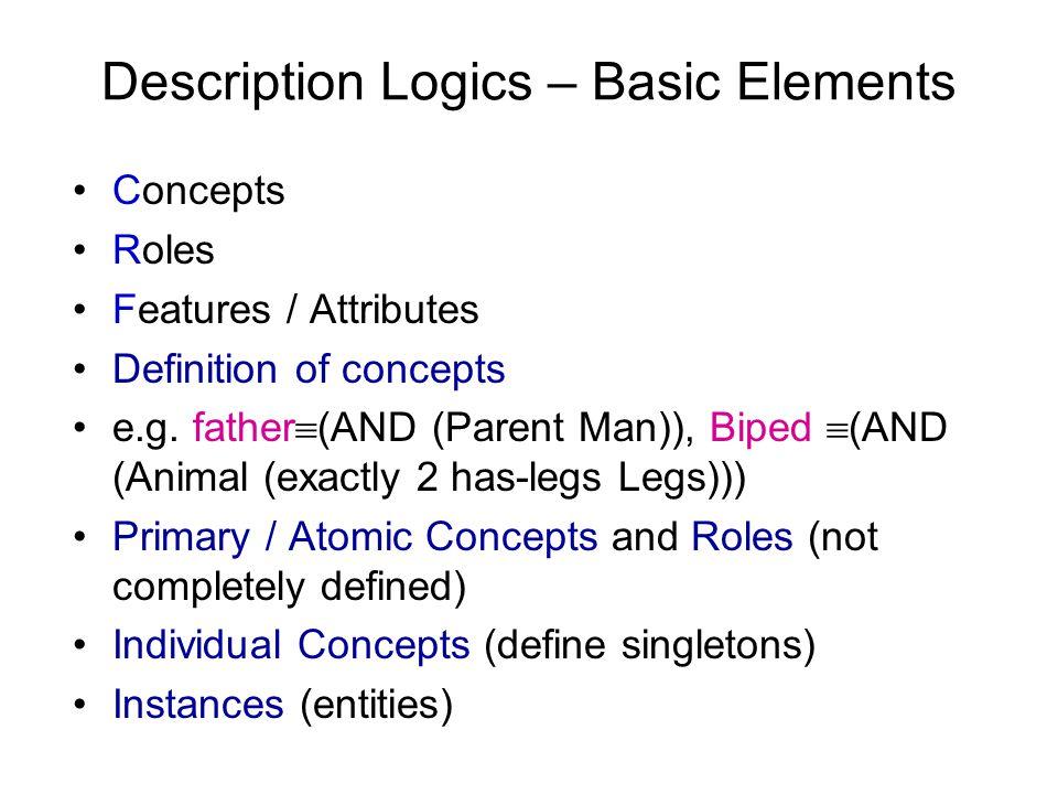 Description Logics – Basic Elements Concepts Roles Features / Attributes Definition of concepts e.g.