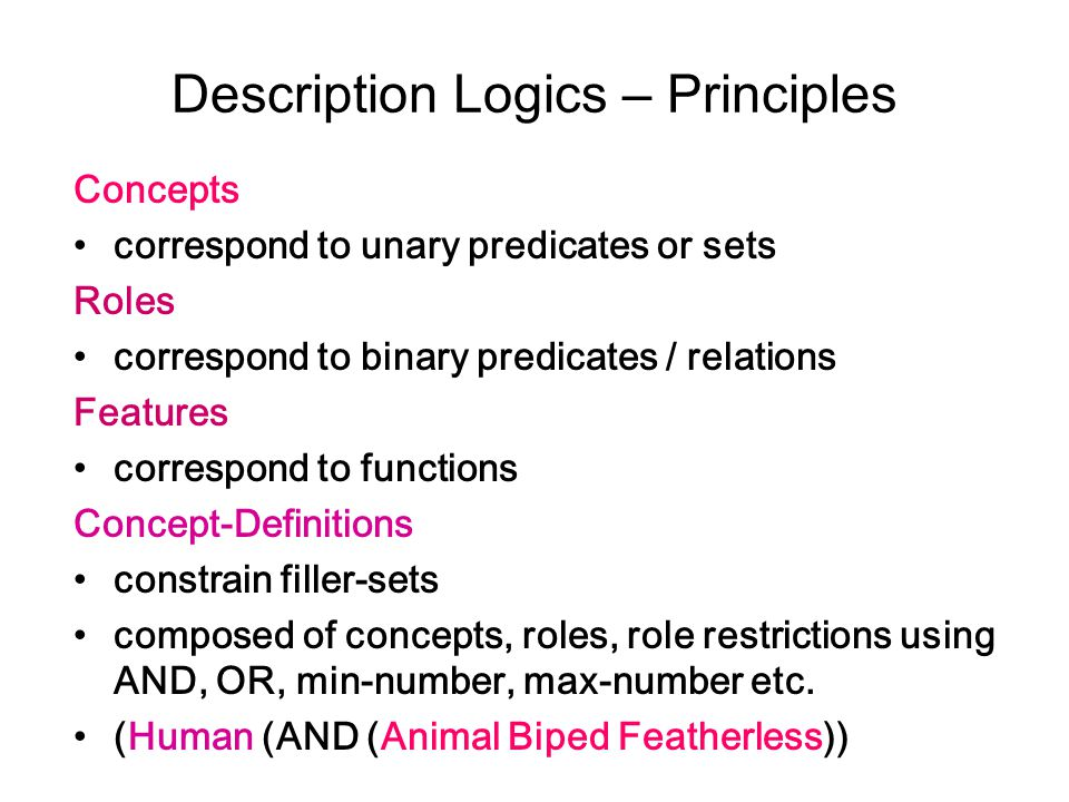 Description Logics – Principles Concepts correspond to unary predicates or sets Roles correspond to binary predicates / relations Features correspond to functions Concept-Definitions constrain filler-sets composed of concepts, roles, role restrictions using AND, OR, min-number, max-number etc.