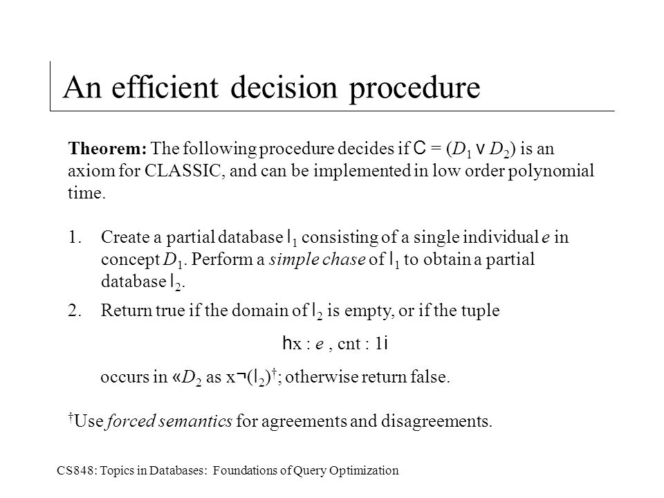 CS848: Topics in Databases: Foundations of Query Optimization An efficient decision procedure Theorem: The following procedure decides if C = (D 1 v D 2 ) is an axiom for CLASSIC, and can be implemented in low order polynomial time.