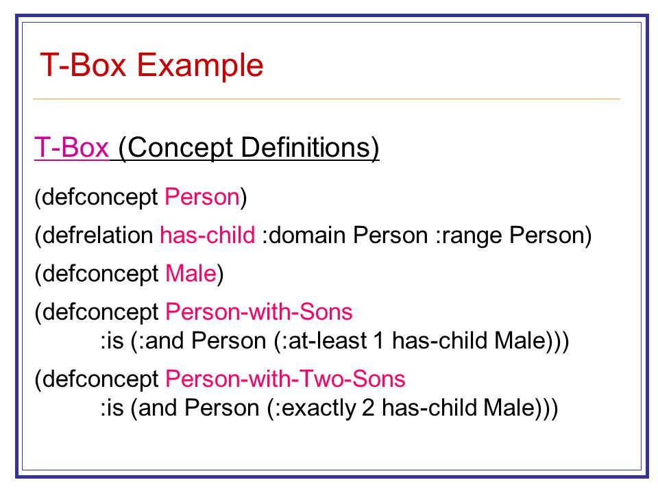 T-Box Example T-Box (Concept Definitions) ( defconcept Person) (defrelation has-child :domain Person :range Person) (defconcept Male) (defconcept Person-with-Sons :is (:and Person (:at-least 1 has-child Male))) (defconcept Person-with-Two-Sons :is (and Person (:exactly 2 has-child Male)))