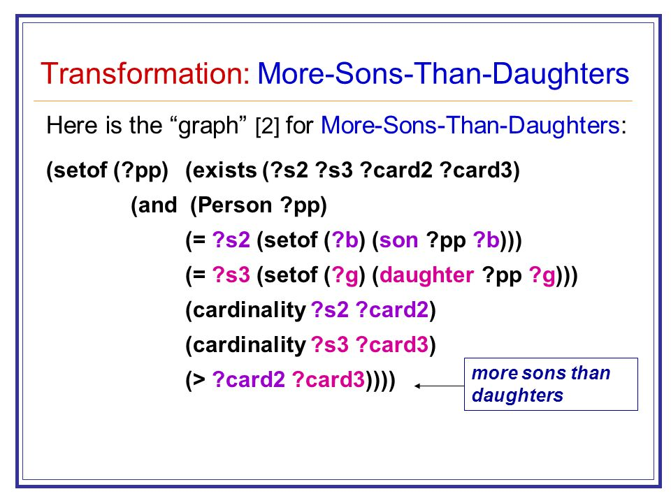 Transformation: More-Sons-Than-Daughters Here is the graph [2] for More-Sons-Than-Daughters: (setof (?pp) (exists (?s2 ?s3 ?card2 ?card3) (and (Person ?pp) (= ?s2 (setof (?b) (son ?pp ?b))) (= ?s3 (setof (?g) (daughter ?pp ?g))) (cardinality ?s2 ?card2) (cardinality ?s3 ?card3) (> ?card2 ?card3)))) more sons than daughters