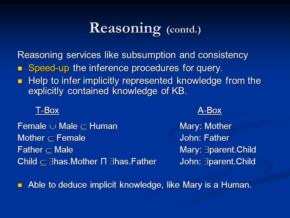 Reasoning (contd.) Reasoning services like subsumption and consistency Speed-up the inference procedures for query.