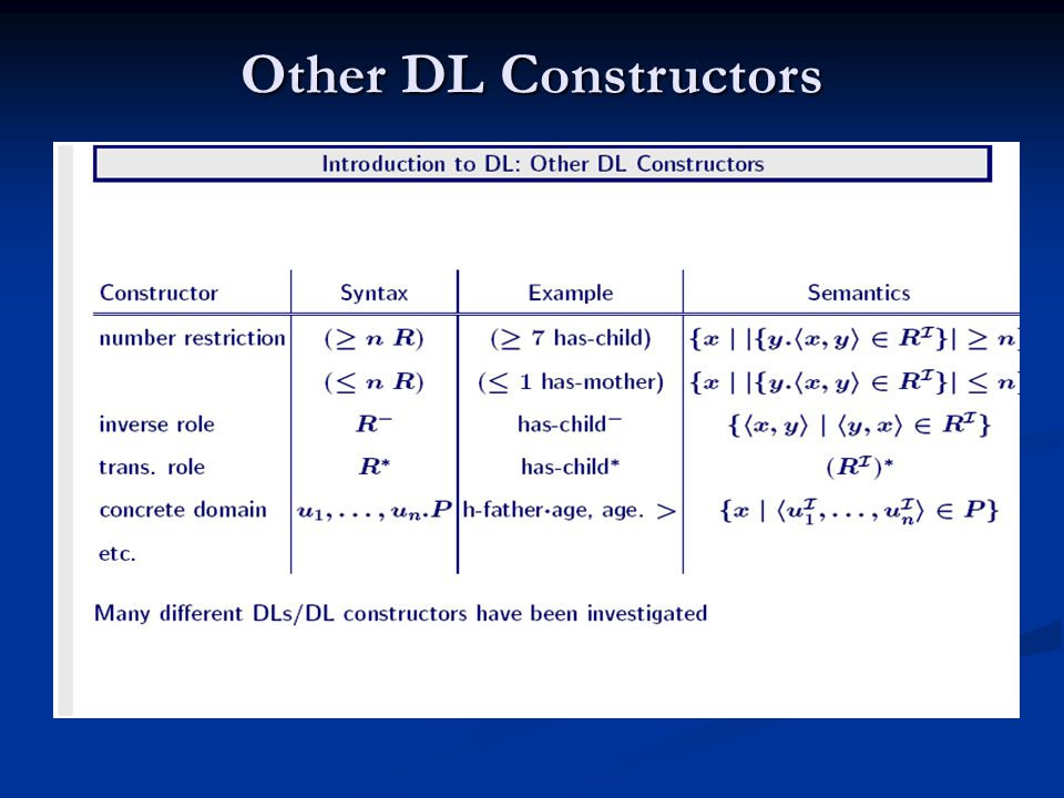 Other DL Constructors
