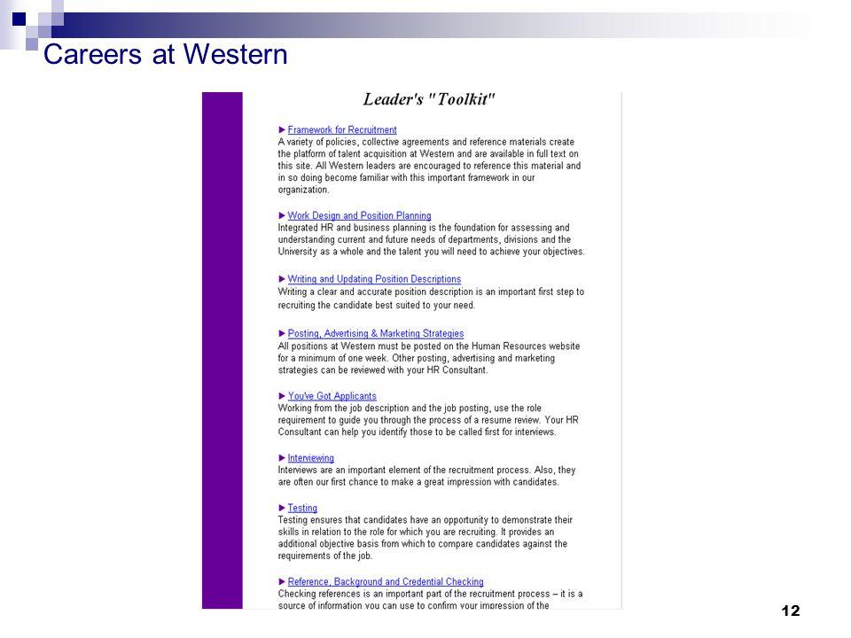 Careers at Western 12
