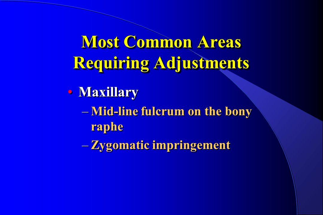 Most Common Areas Requiring Adjustments Maxillary –Mid-line fulcrum on the bony raphe –Zygomatic impringement Maxillary –Mid-line fulcrum on the bony