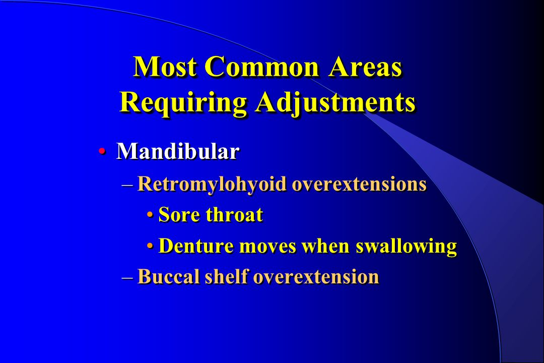 Most Common Areas Requiring Adjustments Mandibular –Retromylohyoid overextensions Sore throat Denture moves when swallowing –Buccal shelf overextensio