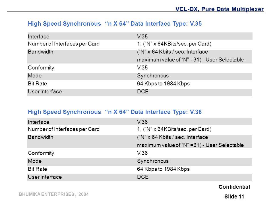 "BHUMIKA ENTERPRISES, 2004 Confidential Slide 11 InterfaceV.35 Number of Interfaces per Card 1, (""N"" x 64KBits/sec. per Card) Bandwidth(""N"" x 64 Kbits"
