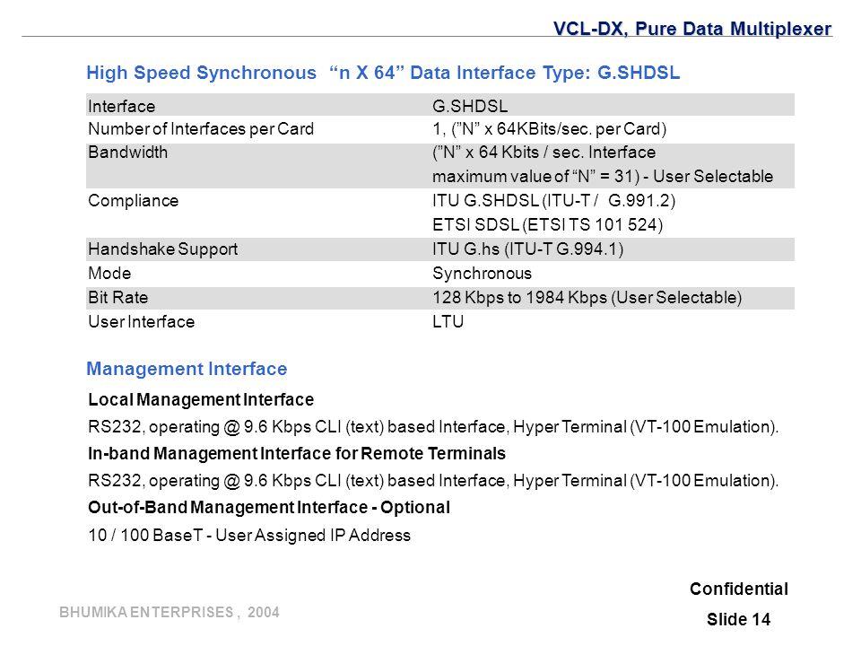 BHUMIKA ENTERPRISES, 2004 Confidential Slide 14 Management Interface Local Management Interface RS232, operating @ 9.6 Kbps CLI (text) based Interface