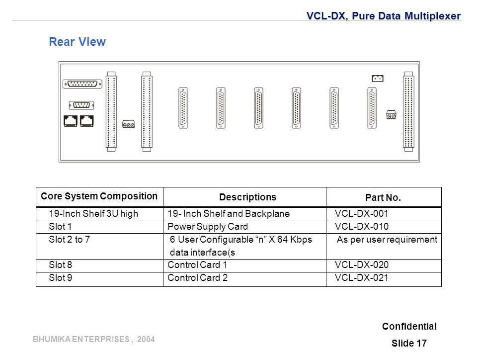 BHUMIKA ENTERPRISES, 2004 Rear View Confidential Slide 17 VCL-DX, Pure Data Multiplexer 19-Inch Shelf 3U high19- Inch Shelf and BackplaneVCL-DX-001 Sl