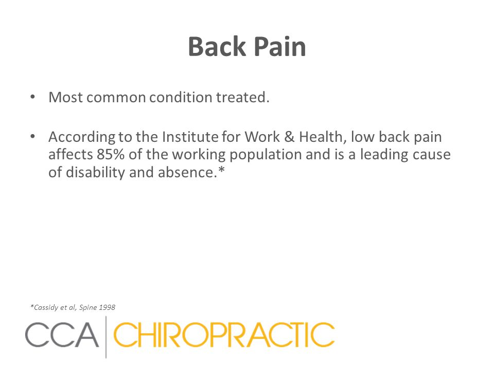 Back Pain Most common condition treated.