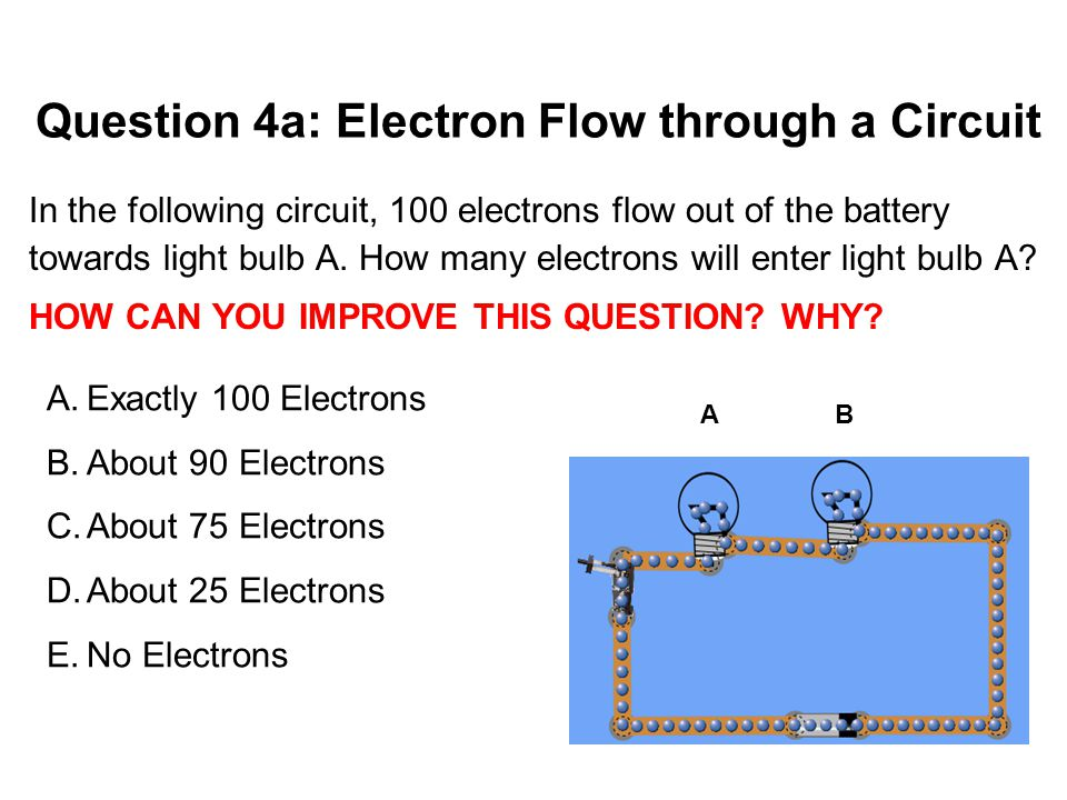 Question 4a: Electron Flow through a Circuit In the following circuit, 100 electrons flow out of the battery towards light bulb A. How many electrons