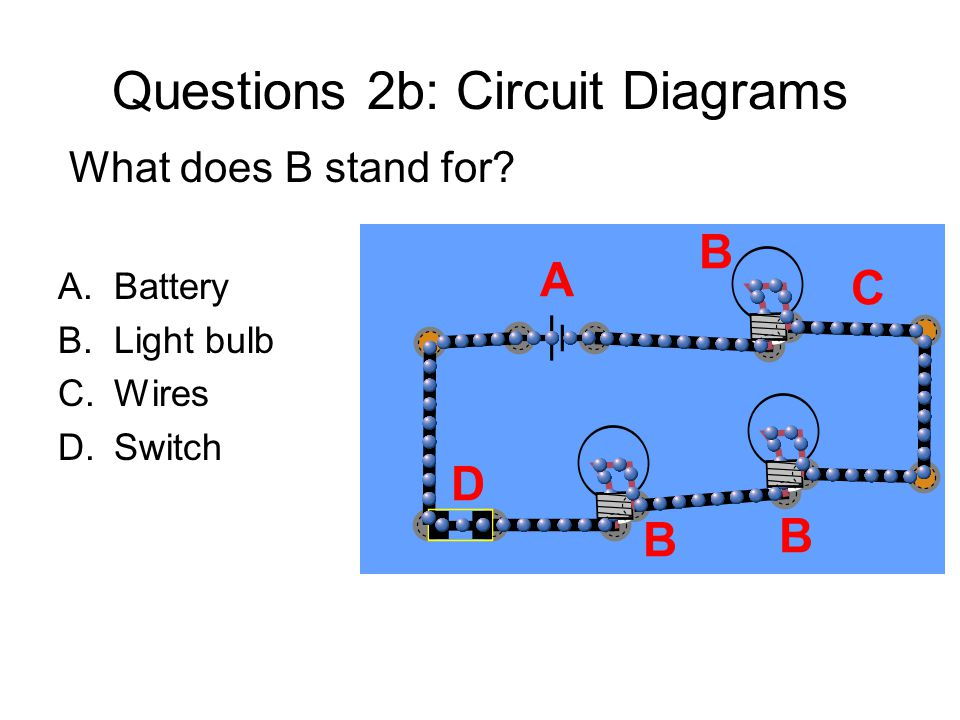 Questions 2b: Circuit Diagrams What does B stand for.