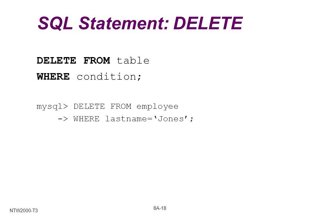 8A-18 NTW2000-T3 SQL Statement: DELETE DELETE FROM table WHERE condition; mysql> DELETE FROM employee -> WHERE lastname='Jones';