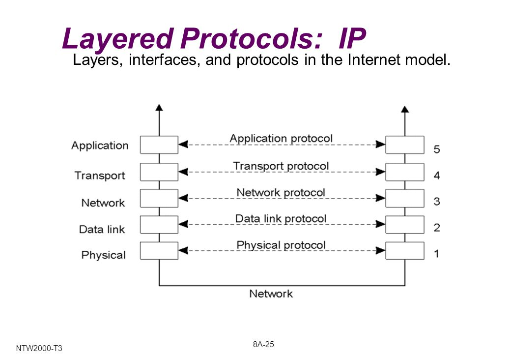 8A-25 NTW2000-T3 Layered Protocols: IP Layers, interfaces, and protocols in the Internet model.