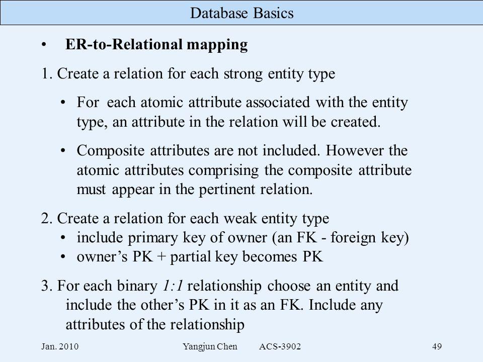 Database Basics Jan. 2010Yangjun Chen ACS-390249 ER-to-Relational mapping 1.