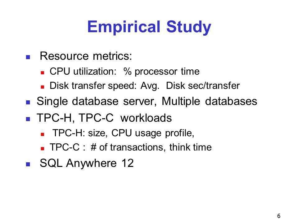 Empirical Study Resource metrics: CPU utilization: % processor time Disk transfer speed: Avg.
