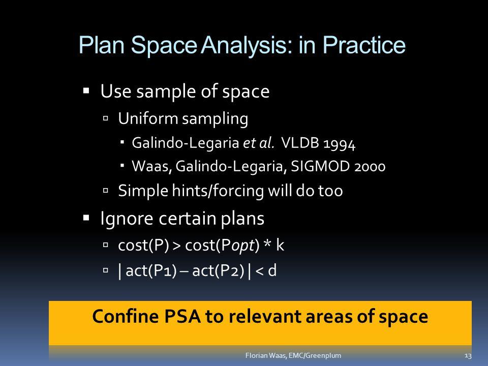 Plan Space Analysis: in Practice  Use sample of space  Uniform sampling  Galindo-Legaria et al.