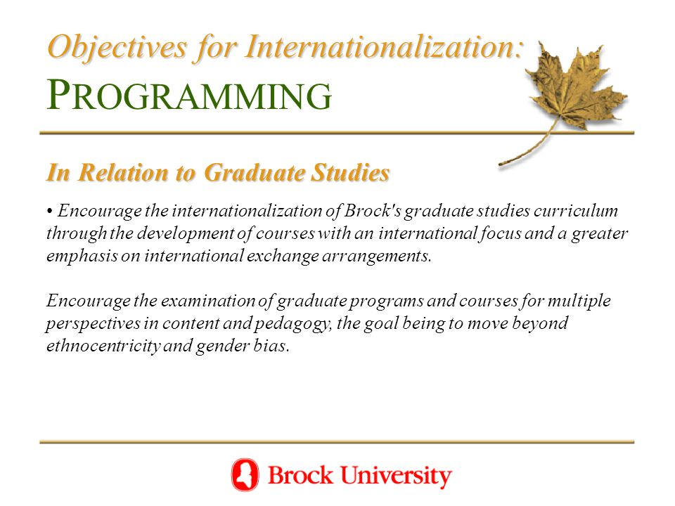 Objectives for Internationalization: Objectives for Internationalization: P ROGRAMMING In Relation to Graduate Studies Encourage the internationalization of Brock s graduate studies curriculum through the development of courses with an international focus and a greater emphasis on international exchange arrangements.