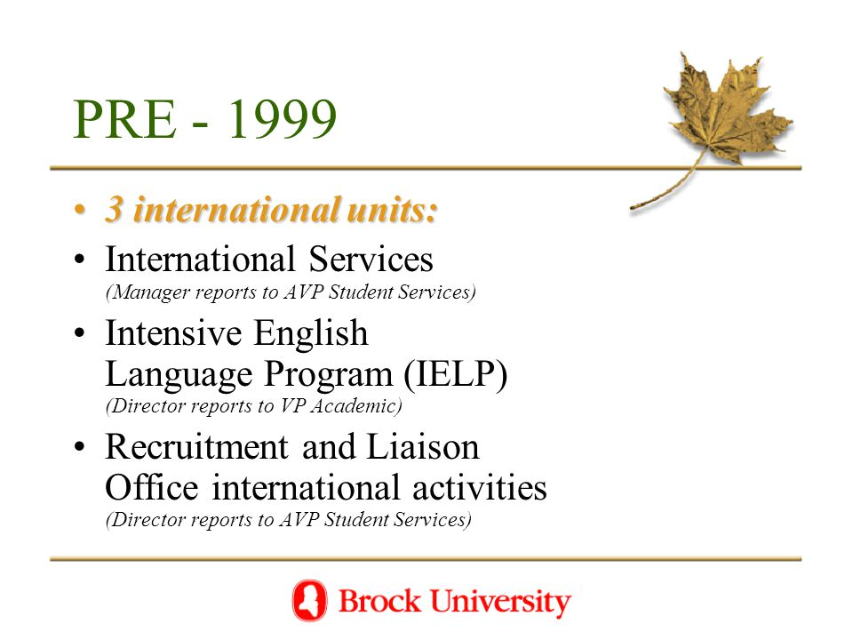 PRE - 1999 3 international units:3 international units: International Services (Manager reports to AVP Student Services) Intensive English Language Program (IELP) (Director reports to VP Academic) Recruitment and Liaison Office international activities (Director reports to AVP Student Services)