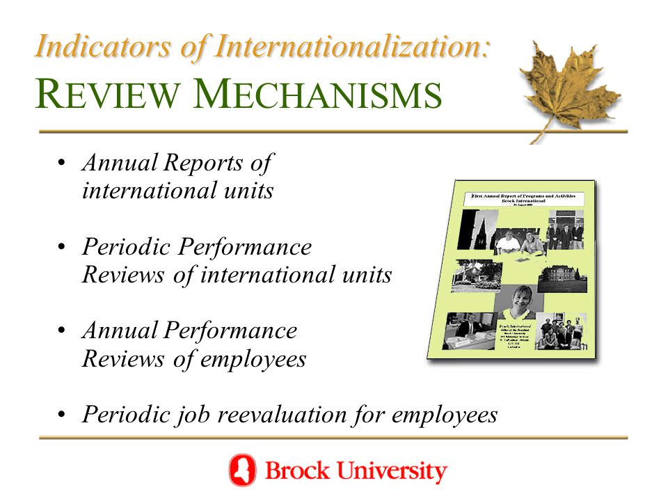Indicators of Internationalization: Indicators of Internationalization: R EVIEW M ECHANISMS Annual Reports of international units Periodic Performance Reviews of international units Annual Performance Reviews of employees Periodic job reevaluation for employees