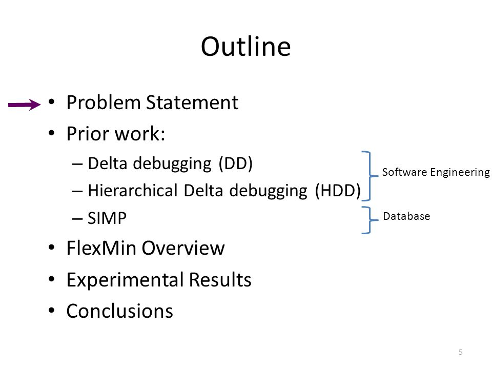 Outline Problem Statement Prior work: – Delta debugging (DD) – Hierarchical Delta debugging (HDD) – SIMP FlexMin Overview Experimental Results Conclusions 5 Software Engineering Database