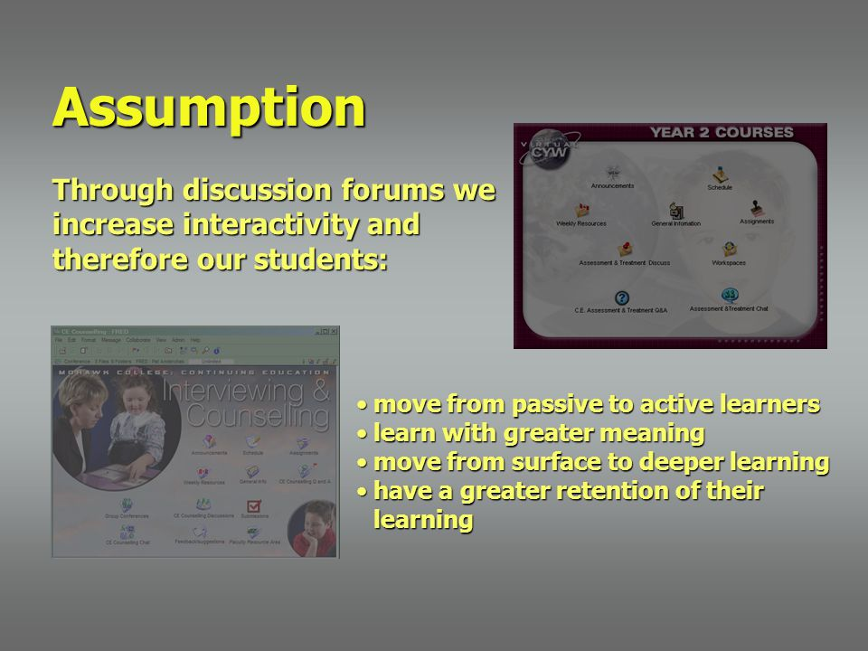 Assumption Through discussion forums we increase interactivity and therefore our students: move from passive to active learnersmove from passive to ac