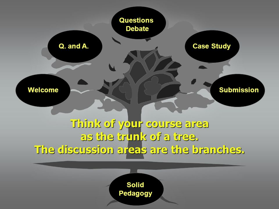 Think of your course area as the trunk of a tree. The discussion areas are the branches. WelcomeSubmission Q. and A. Questions Debate Case Study Solid