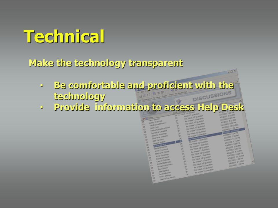 Make the technology transparent Make the technology transparent Be comfortable and proficient with the technology Be comfortable and proficient with the technology Provide information to access Help Desk Provide information to access Help Desk Technical