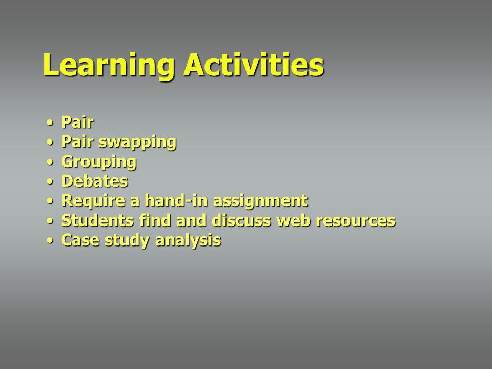 PairPair Pair swappingPair swapping GroupingGrouping DebatesDebates Require a hand-in assignmentRequire a hand-in assignment Students find and discuss