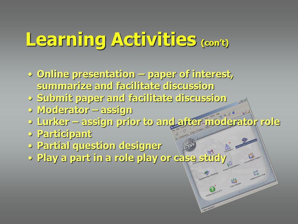Online presentation – paper of interest, summarize and facilitate discussionOnline presentation – paper of interest, summarize and facilitate discussi
