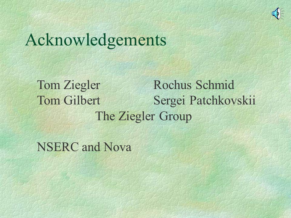Acknowledgements Tom ZieglerRochus Schmid Tom GilbertSergei Patchkovskii The Ziegler Group NSERC and Nova