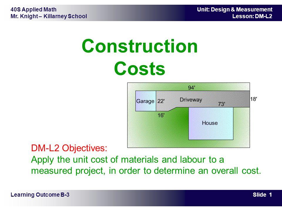 40S Applied Math Mr. Knight – Killarney School Slide 1 Unit: Design & Measurement Lesson: DM-L2 Construction Costs Learning Outcome B-3 DM-L2 Objectiv