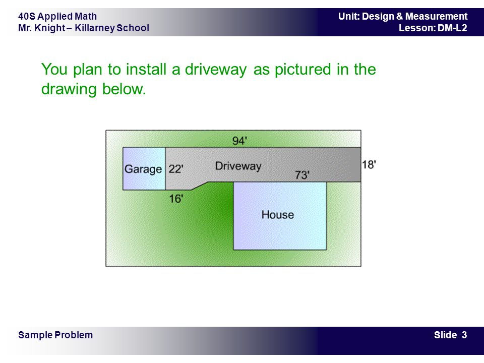 40S Applied Math Mr. Knight – Killarney School Slide 3 Unit: Design & Measurement Lesson: DM-L2 You plan to install a driveway as pictured in the draw