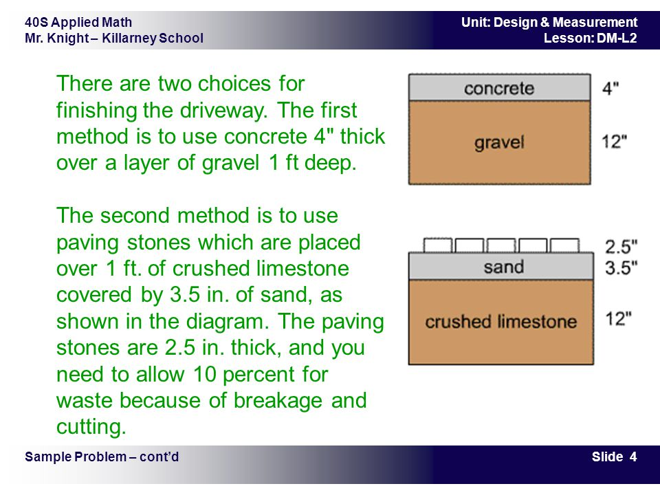 40S Applied Math Mr. Knight – Killarney School Slide 4 Unit: Design & Measurement Lesson: DM-L2 There are two choices for finishing the driveway. The