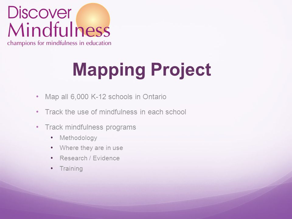 Mapping Project Map all 6,000 K-12 schools in Ontario Track the use of mindfulness in each school Track mindfulness programs Methodology Where they are in use Research / Evidence Training