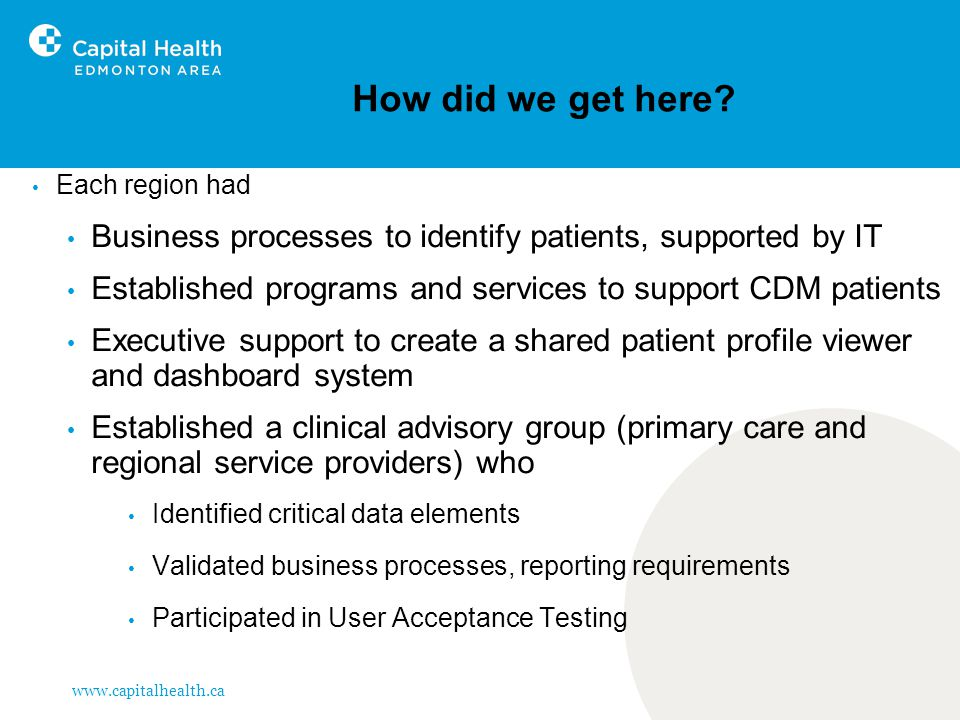 www.capitalhealth.ca How did we get here? Each region had Business processes to identify patients, supported by IT Established programs and services t