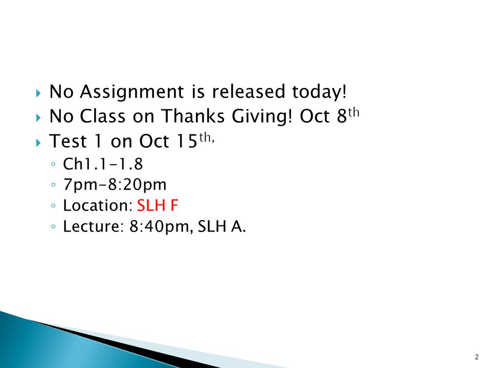  No Assignment is released today.  No Class on Thanks Giving.