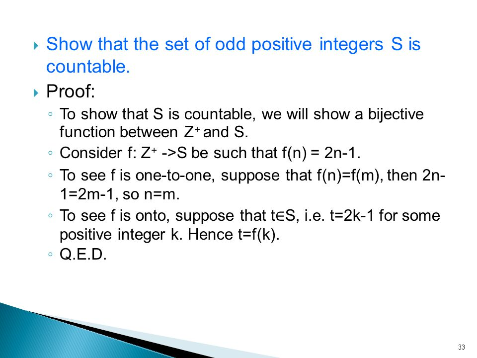  Show that the set of odd positive integers S is countable.