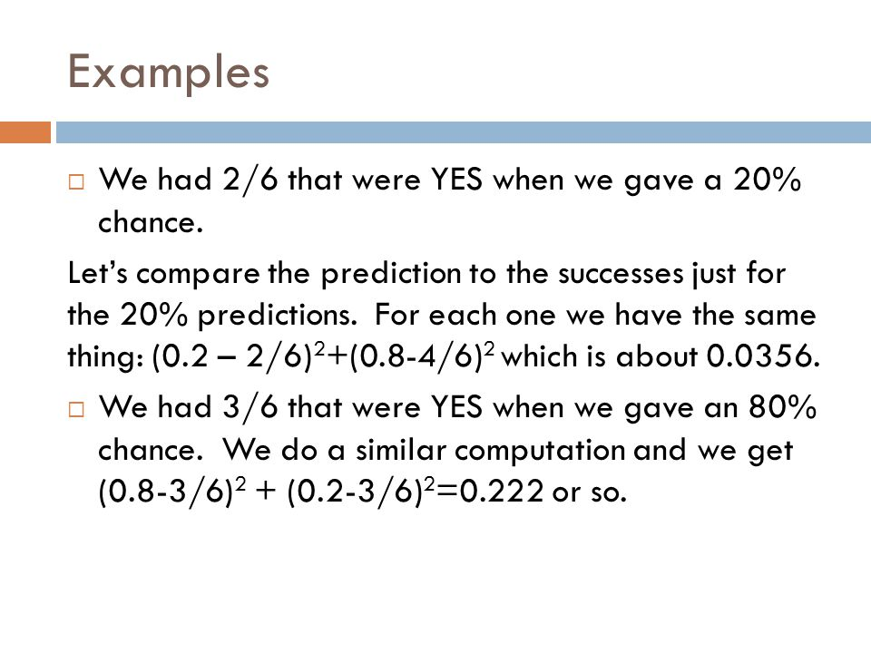 Examples  We had 2/6 that were YES when we gave a 20% chance.