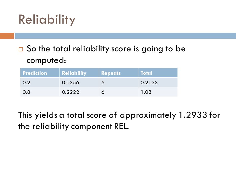 Reliability  So the total reliability score is going to be computed: This yields a total score of approximately for the reliability component REL.