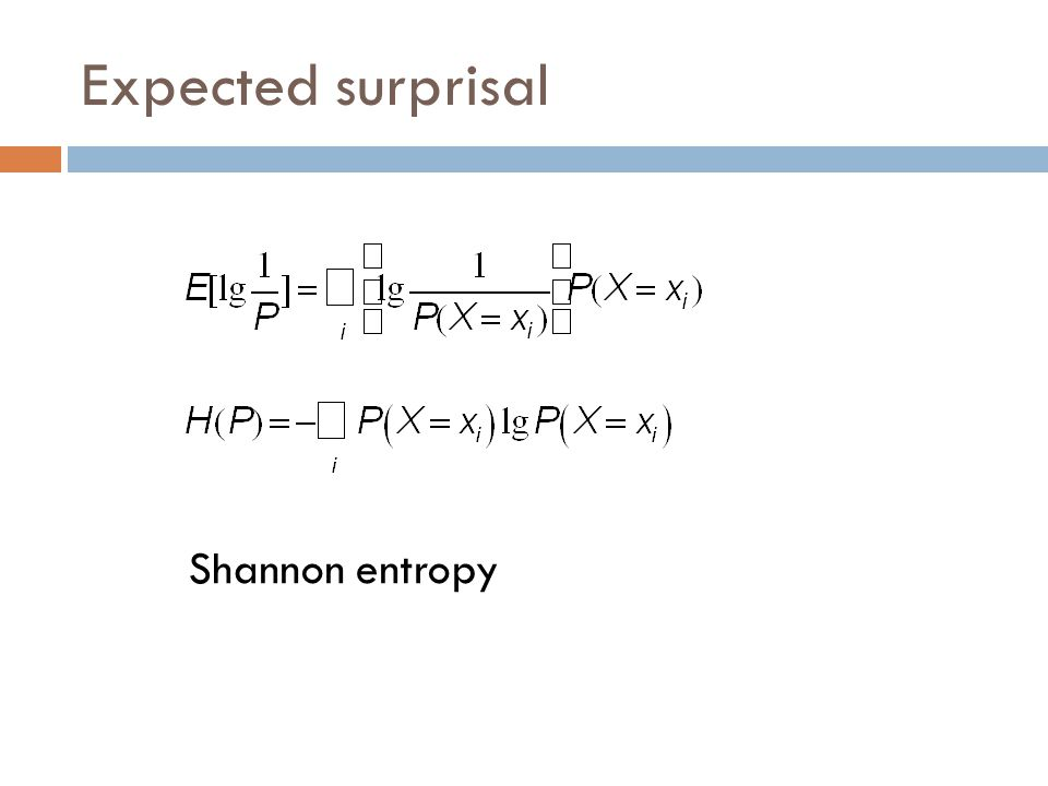Expected surprisal Shannon entropy
