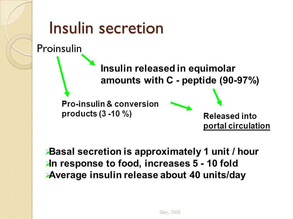 Insulin secretion Proinsulin May, 2008 Insulin released in equimolar amounts with C - peptide (90-97%) Pro-insulin & conversion products (3 -10 %) Rel
