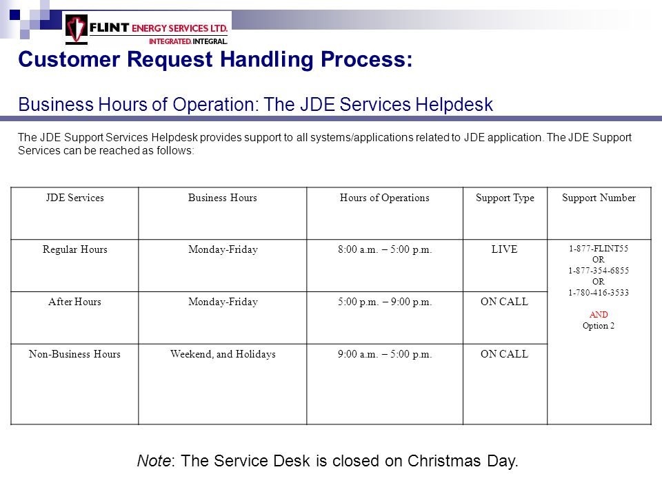 Customer Request Handling Process: Business Hours of Operation: The GBA Helpdesk The General Business Applications (GBA) provides Support to All custom/vendor applications except JDE.