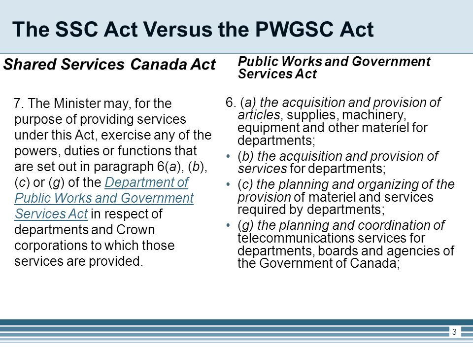 The SSC Act Versus the PWGSC Act Shared Services Canada Act 7.