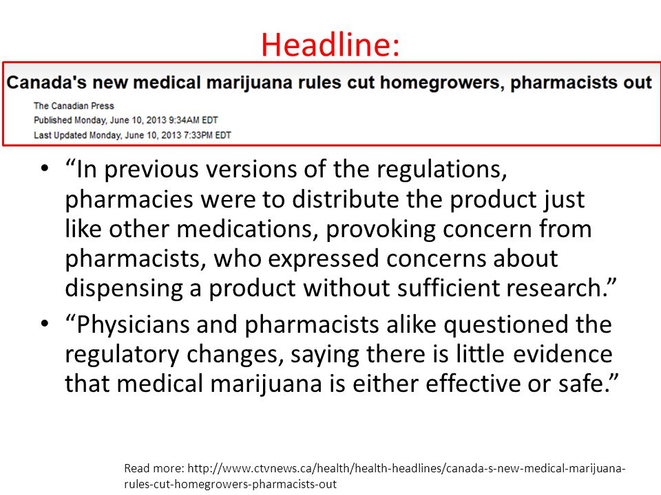 """Headline: """"In previous versions of the regulations, pharmacies were to distribute the product just like other medications, provoking concern from phar"""