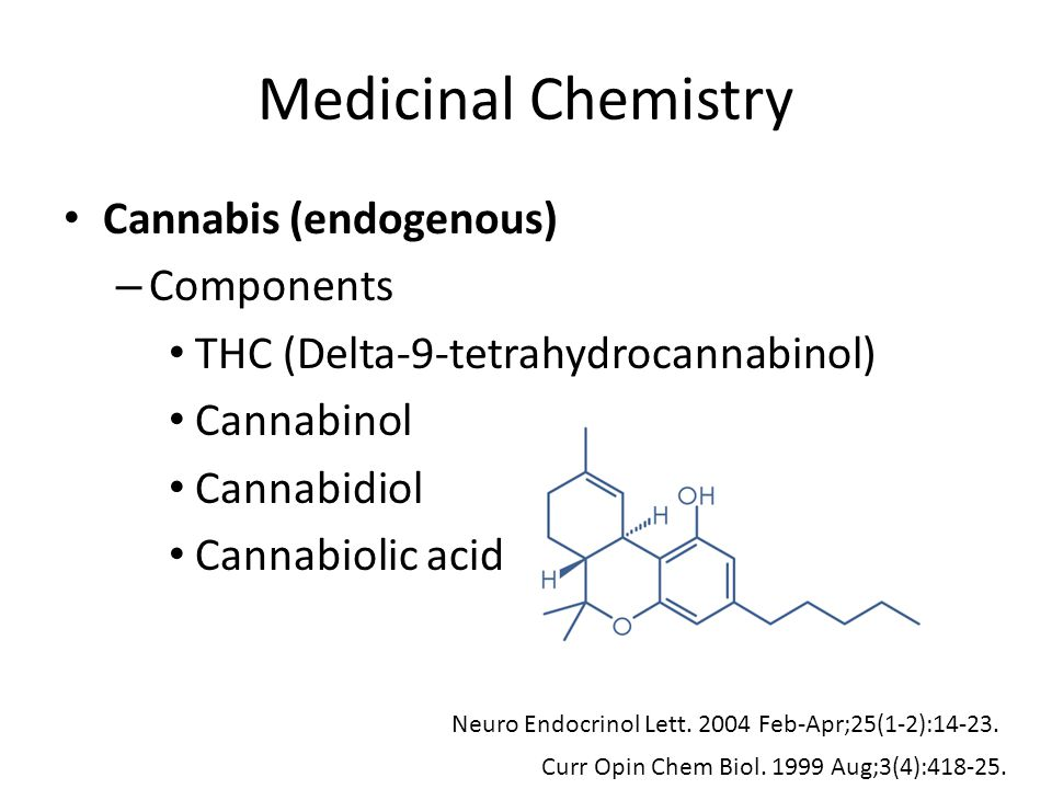 Pharmacology THC – Main psychotropic component of cannabis – Agonist at cannabinoid receptors (Type 1 and 2) Central nervous system Periphery (spleen, leukocytes, reproductive tract, urinary and gastrointestinal tract, endocrine system, heart and arteries) Neuro Endocrinol Lett.